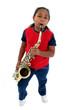 Girl playing saxophone.
