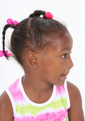 Adorable five year old african american girl profile.