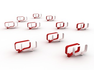 Chatting concept in red and white colors