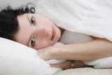 attractive thoughtful brunette curl woman sleeping after blanket