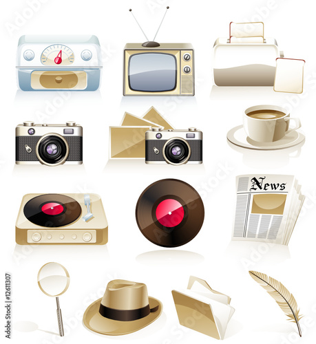Vector vintage icon set
