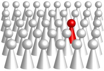 Minorité  (pion rouge au milieu d'une foule de pions blancs)