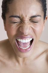 A woman screaming