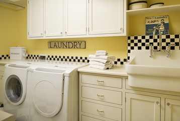 White Appliances and Cabinetry in Laundry Room