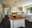 Island with Wooden Countertop in Traditional Kitchen