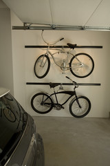Retro Bicycles on Rack in Garage