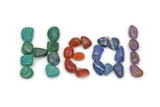 Heal written in Tumbled crystal stones poster