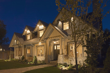 Traditional Style Contemporary House at Night