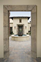 View through Doorway into Courtyard of House