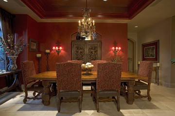 Red Accents in Traditional Dining Room