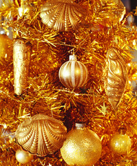 Front view of decorative shells and balls seen on Christmas eve