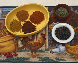 Roasting Spices Arranged on Barnyard Placemat