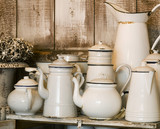 Collection of Old Enamelware Pitchers