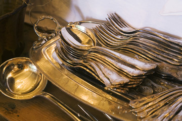 Antique Silverware on Tray