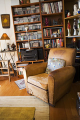 Worn Club Chair in Eclectic Living Room