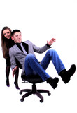 Business person. young carefree man and woman in isolated photo. poster