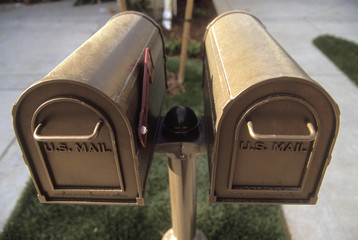 Pair of Brass Mailboxes in between Driveways