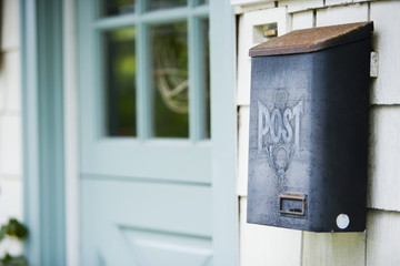 Mailbox by Light Blue Front Door