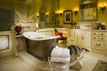 Master Bathroom with Bathtub on Marble Platform