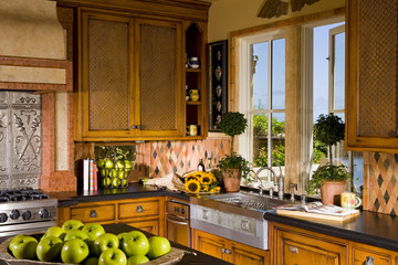 Traditional Style Kitchen with Diamond Shaped Tiles