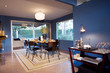 Modern Dining Table and Chairs in Blue Dining Room
