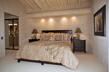 Beamed Ceiling in Contemporary Bedroom