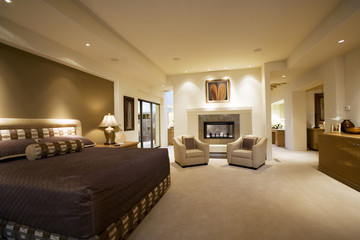 Contemporary Bedroom with Fireplace