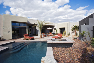 Pool and Patio by Contemporary House