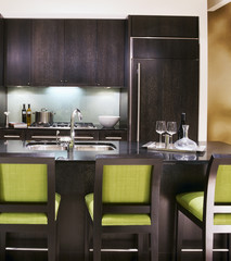 Contemporary Kitchen with Stools at Counter
