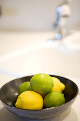 Earthenware bowl with lemons and limes