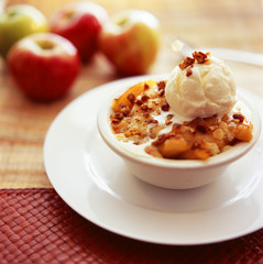 Ice cream is garnished with dry fruit with apples placed beside it