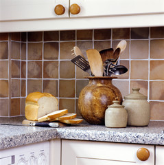 Brown Tilework and Marble Counters