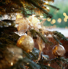 Christmas Tree Adorned with Golden Balls and Bows