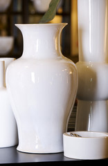 White glazed pottery in an array of contemporary shapes