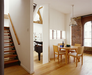 Contemporary Dining Room in Loft