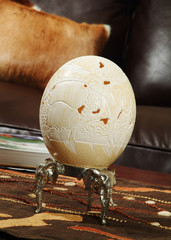 Carved Ostrich Egg on a Stand