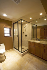 Side view of a toilet and a shower in a neat and clean bathroom