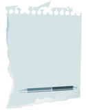 Pen and ragged paper with place for your text poster