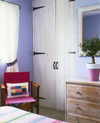 Double Closet Doors with Black Hinges in Bedroom