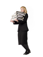 Woman carrying  folders