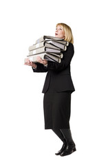 Woman overloaded with work