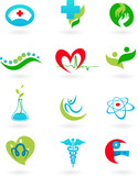 Fototapety collection of medicine icons and logos