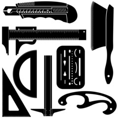 Vector set of drafting tools