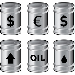 Vector set of shiny oil barrels with currency symbols