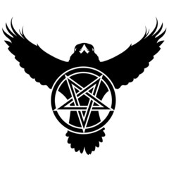 Vector raven or crow in grunge style with pentagram