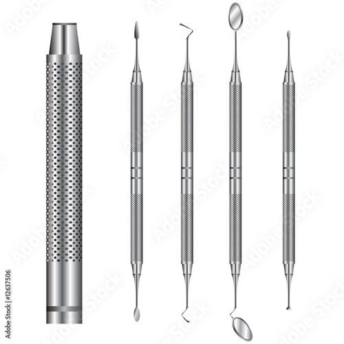 Detailed vector set of dental tools