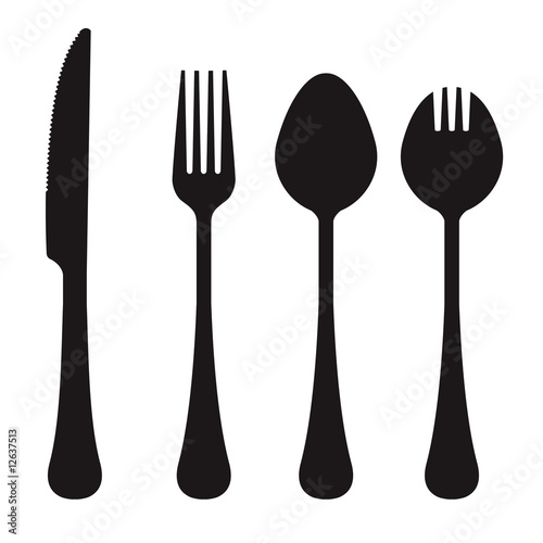 Vector silhouette of knife, fork, spoon, and spork - 12637513