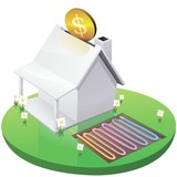 white home moneybox in garden with geothermal installation poster