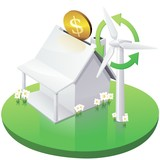 White American House Moneybox with Wind Turbine poster