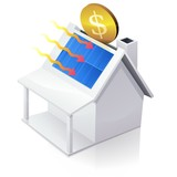 White American House MoneyBox with solar panel poster